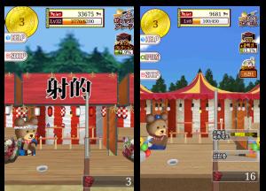 左が日本版の「the射的!」右が韓国版。屋台もクマもプライズも変えている。