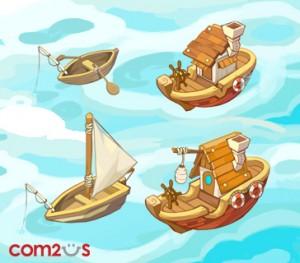 ▲釣り船はアップグレードすると外見も変わります。