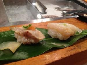 ふぐのタタキとつぶ貝。