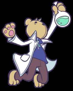 「りすくませんぱい」とは?⇒謎の実験をくりかえす、りすっぽくてくまらしい先輩。 いつももっているフラスコの中には愛と化学とぷよ!?が つまっているらしい。