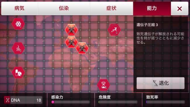 ゲーム開始直後に遺伝子圧縮を3まで取れば、致死率の上昇を相当抑えることができる。 Plague Inc.-伝染病株式会社- 生物兵器攻略
