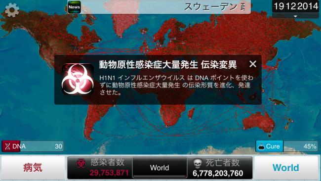 ウイルス不安定度3を取得することで凄まじい変異を遂げる!|Plague Inc.-伝染病株式会社-  シナリオ攻略2 豚インフルエンザ攻略