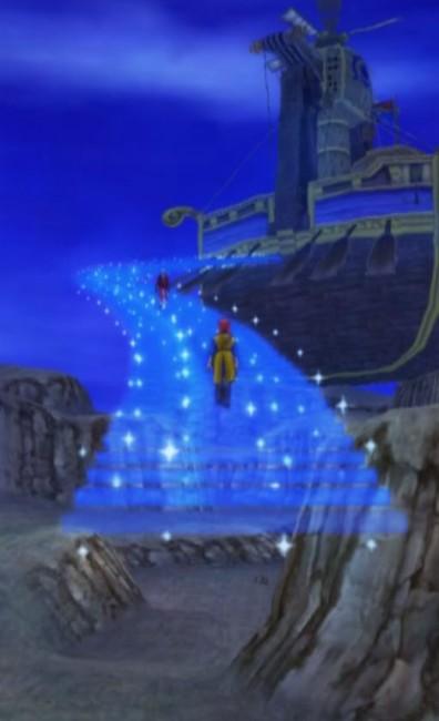 dq8_45 ドラゴンクエスト8 スマホリメイク版 攻略 第5回 トロデーン城/月影のハープを獲得/モグラのアジト/メダル王女の城/ベルガラック/モンスターバトルロード 魔法船の復活。幻想的なムービーも挿入される。