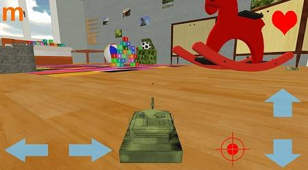小さい戦車の視点から広い部屋を駆け巡れ!