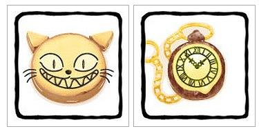 「チェシャーチーズのチェシャ猫」、「白うさぎの時計」