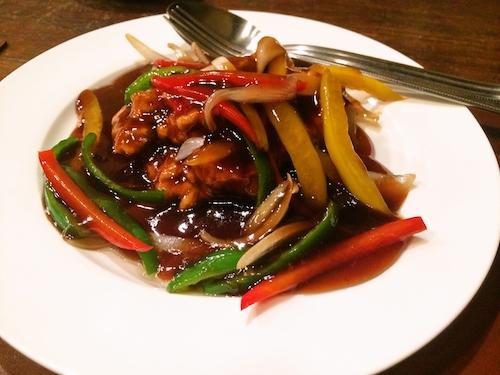 中国黒酢の酢豚。