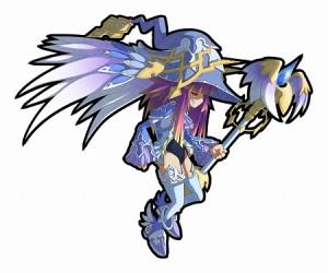 水属性・杖ユニット。 魔力を秘めた翼を持つ、妖しい服装の魔女!?