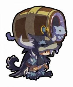 闇属性・弓ユニット。 毛皮をかぶった本人も注目だが、手にした武器が何より気 になるところ。タルの中にいるのは、カワイイ狼…!?
