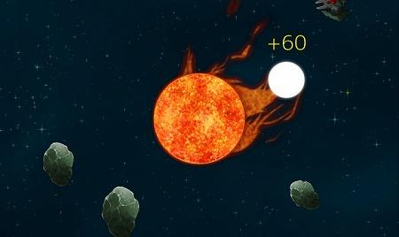 小さく冷えてしまった哀れな「太陽さん」を宇宙空間でふっ飛ばし 星々を破壊!