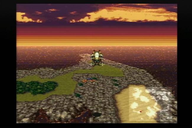 荒れ果てた荒野を飛ぶファルコン号。なんて美しいドット絵だ。