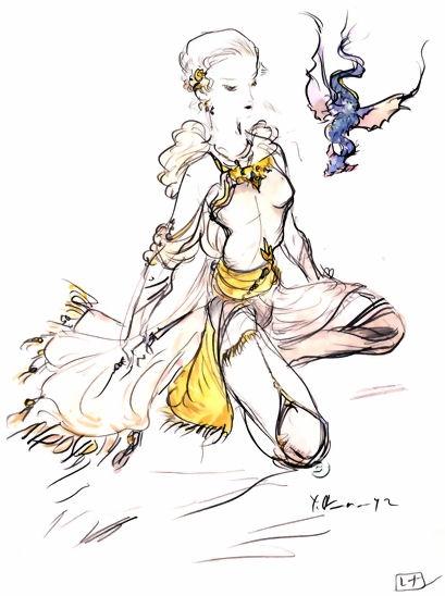 天野喜孝によるレナのイラスト。 ©Final Fantasy V 1992 SQUARE ENIX