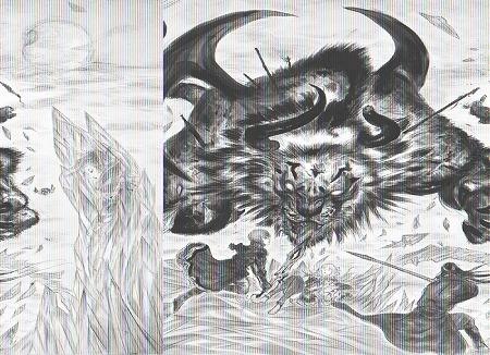 天野喜孝氏描き下ろしによる大迫力のイメージイラスト。本作の主人公レイン、そのライバ ル的存在のラスウェル、そしてヒロインのフィーナがベヒーモスと対峙する姿が描かれてい る。クリスタルの大地に眠る勇者たちの影は…!?