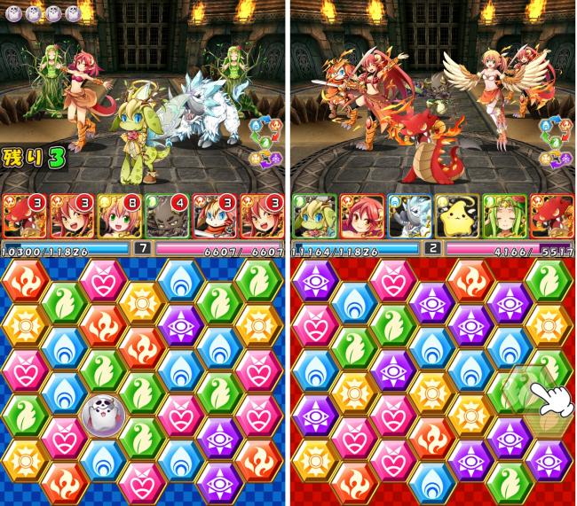 左が自分の攻撃ターン時、右が相手の攻撃ターン時の画面