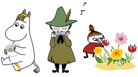 調合するお嬢さん/ハーモニカを演奏するスナフキン/花を摘むミイ