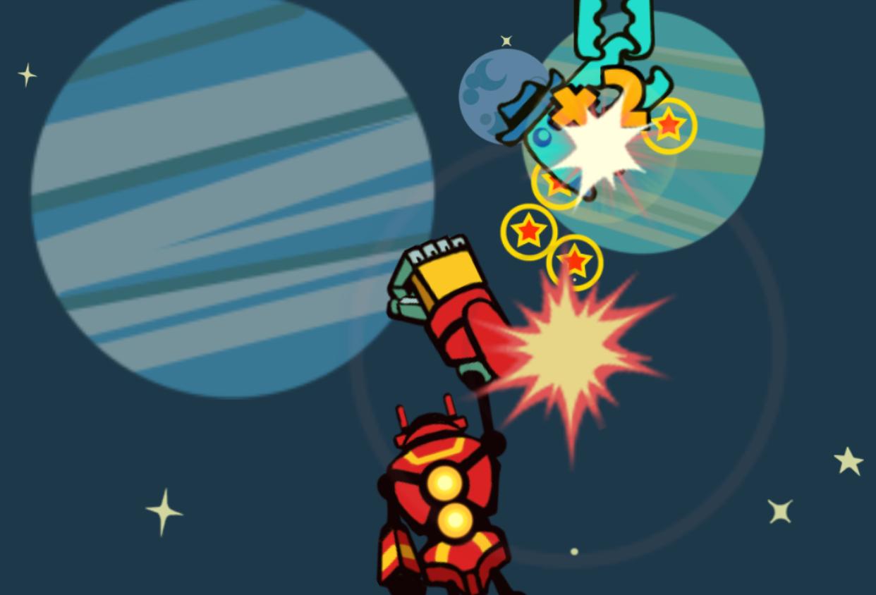 合体を駆使して敵を撃破するシューティングゲーム。