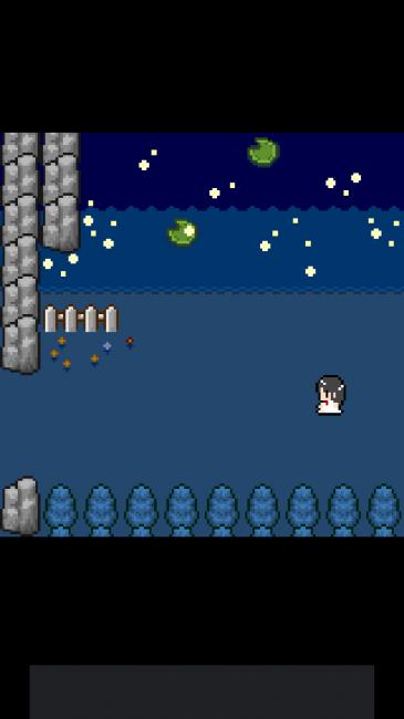回想シーン。湖と蛍が宇宙のようで美しい。ドット絵故の演出だ。