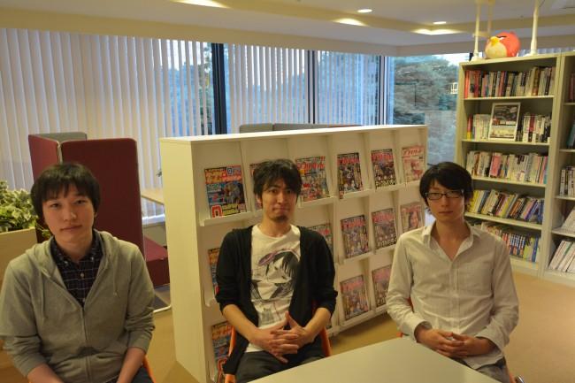 左:プログラマー 浜中剛氏 中央:脚本家 横田純氏 右:コンポーザー 入間川幸成氏