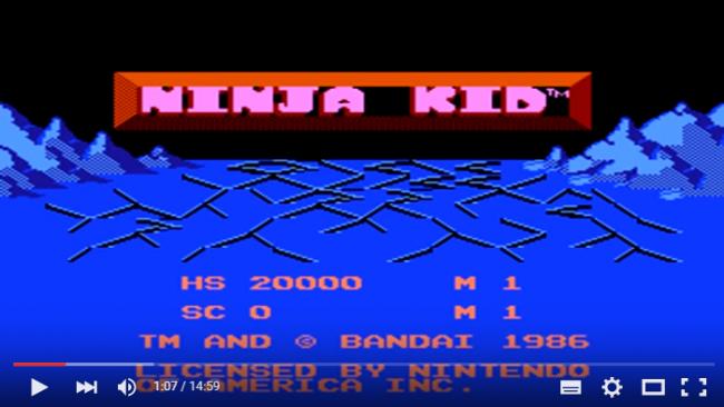 タイトル画面が「NINJA KID」に。