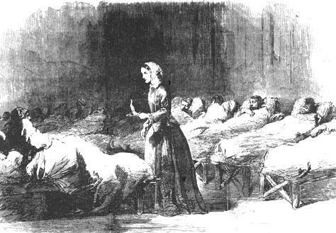 看護婦として戦傷兵を見舞うナイチンゲール(1855年) 画像出典:https://ja.wikipedia.org/wiki/フローレンス・ナイチンゲール