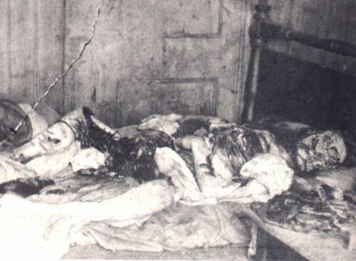 メアリー・ジェイン・ケリーの遺体写真、殺害現場にて 画像出典:https://ja.wikipedia.org/wiki/切り裂きジャック