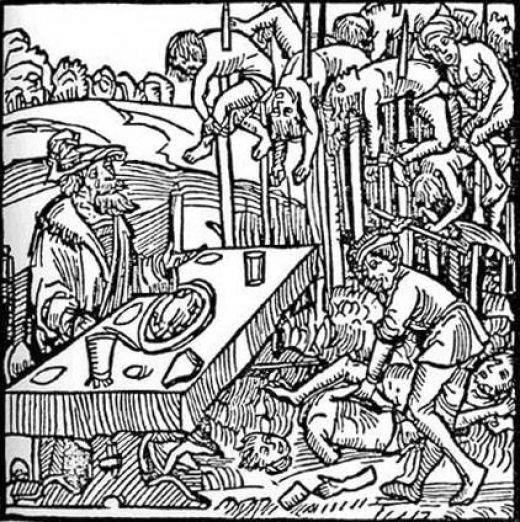 串刺し刑の図 画像出典:https://ja.wikipedia.org/wiki/https://ja.wikipedia.org/wiki/ヴラド・ツェペシュ