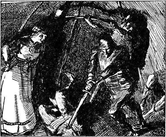 ノルウェーの画家クリスチャン・クローグによって描かれたエイリークとグンヒルド。『ハーラル美髪王のサガ』の一場面。 画像出典:https://ja.wikipedia.org/wiki/エイリーク1世_(ノルウェー王)