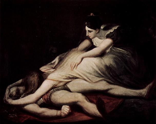 殺されたジークフリートと悲しむクリームヒルト 画像出典:https://ja.wikipedia.org/wiki/ニーベルンゲンの歌