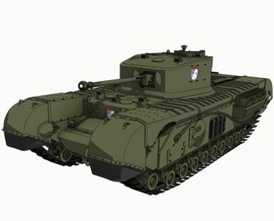 チャーチル歩兵戦車 Mk.VII(聖グロリアーナ女学院) 画像出典:http://girls-und-panzer.jp/