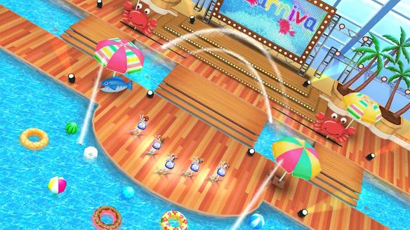 サマカニ!!MVプールに設置された特設ステージ