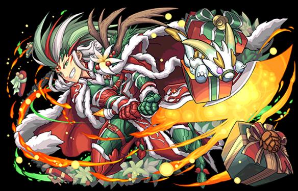 サンタ劉備です。2体攻撃を3つ持ち、かなり火力が出せるキャラとなっています。クリスマス限定キャラです。