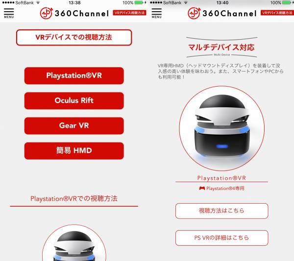 360channelのVRデバイス