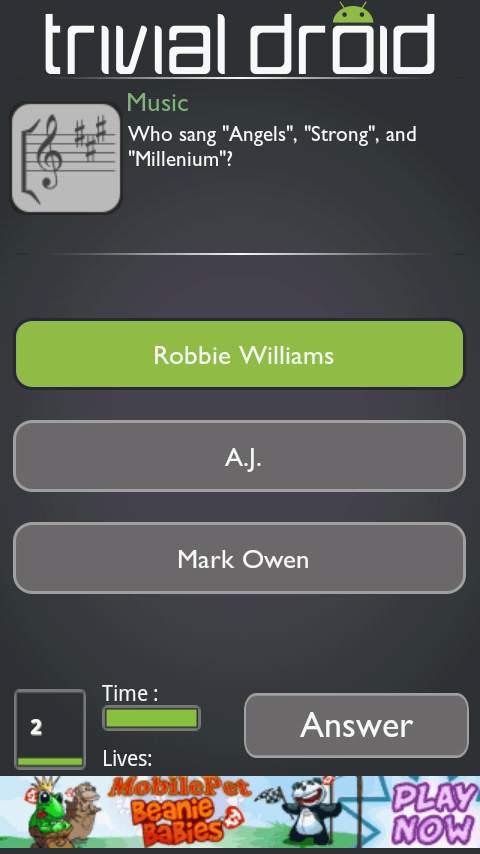 トリビアドロイド(クイズゲーム) androidアプリスクリーンショット1