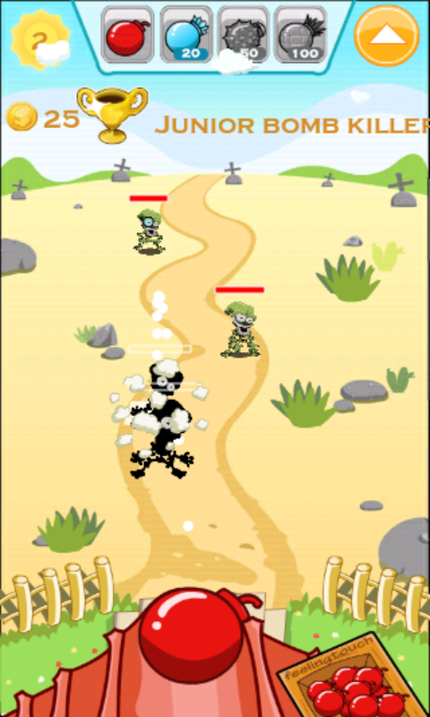 ボムス vs ゾンビーズ - ボムトス androidアプリスクリーンショット1