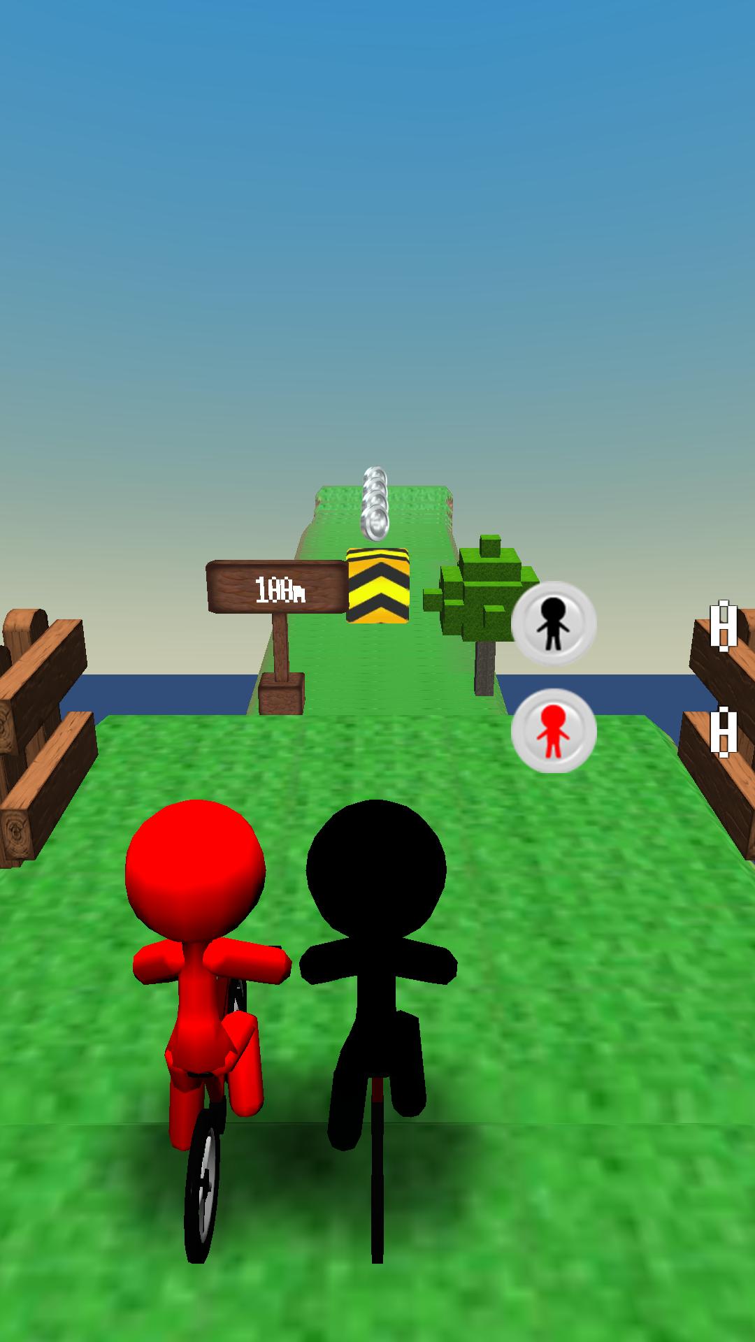 androidアプリ キューブに爆走! チャリ走 スズキ vs サトー攻略スクリーンショット1