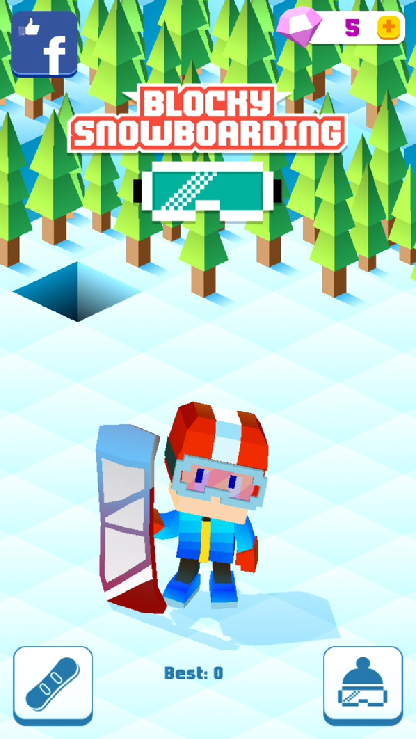 androidアプリ Blocky Snowboarding攻略スクリーンショット1
