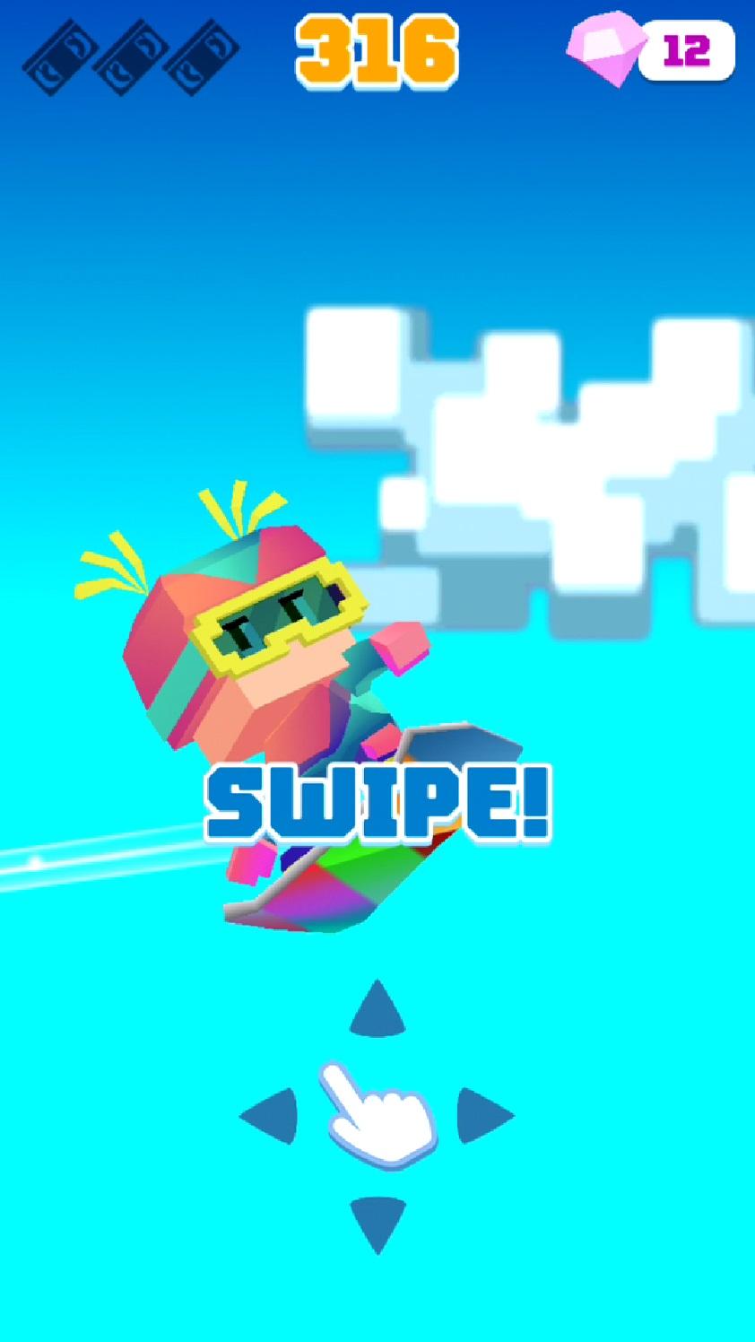 androidアプリ Blocky Snowboarding攻略スクリーンショット4