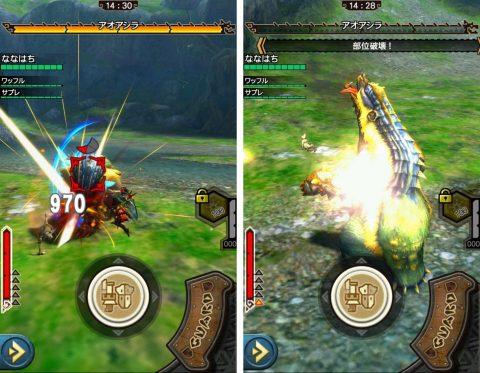 スマホ版でも14種の武器を使って巨大モンスターを狩ろう。