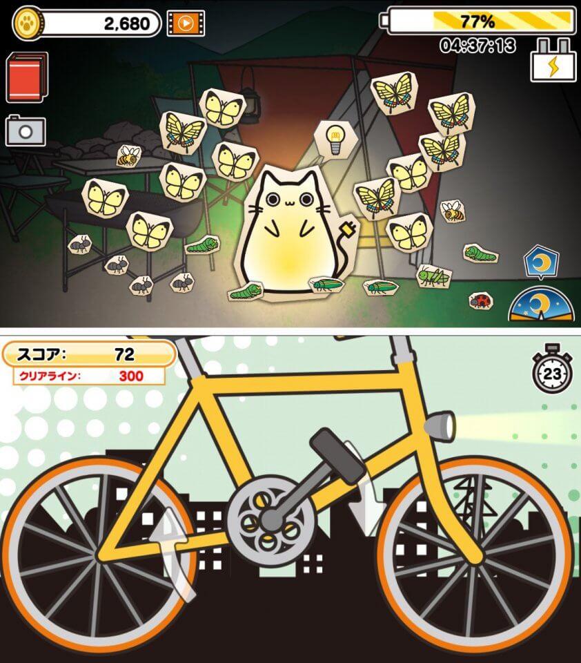 ネコが光ると何かが寄ってくる!昆虫やいろんな生き物を集めながらミニゲームも遊べるコレクションゲーム!「ネコライト」