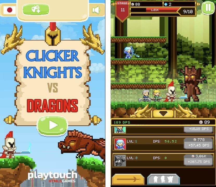 俺、連打する。騎士、竜と戦う!これ以上ないまでにシンプルなドット絵のクリッカーRPG「Clicker Knights Vs dragons」レビュー